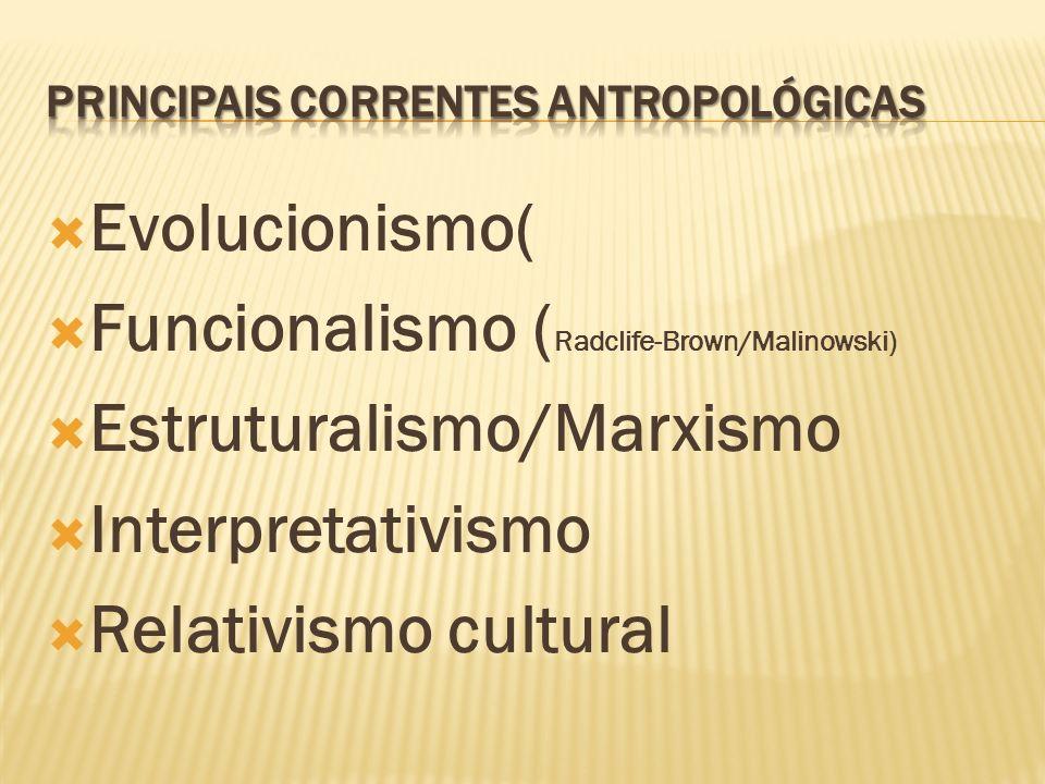 Evolucionismo( Funcionalismo ( Radclife-Brown/Malinowski) Estruturalismo/Marxismo Interpretativismo Relativismo cultural