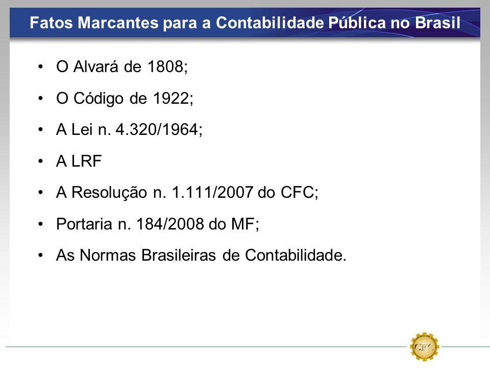 Fatos Marcantes para a Contabilidade Pública no Brasil O Alvará de 1808; O Código de 1922; A Lei n. 4.320/1964; A LRF A Resolução n. 1.111/2007 do CFC