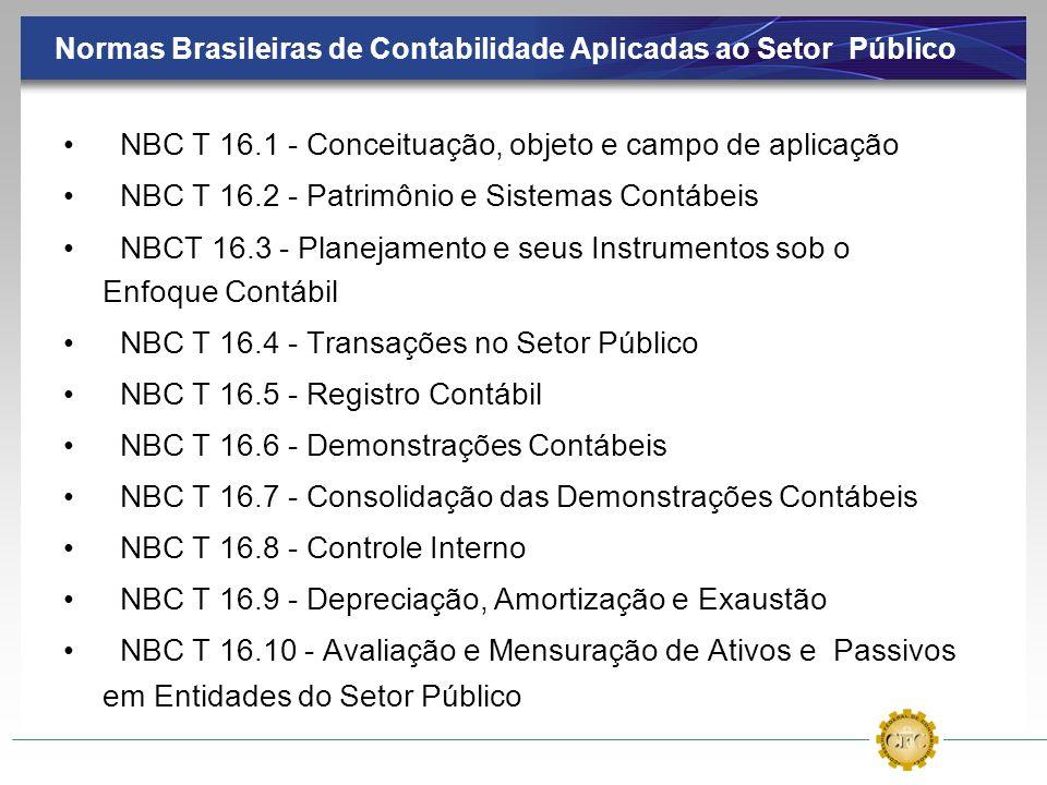 Normas Brasileiras de Contabilidade Aplicadas ao Setor Público NBC T 16.1 - Conceituação, objeto e campo de aplicação NBC T 16.2 - Patrimônio e Sistem