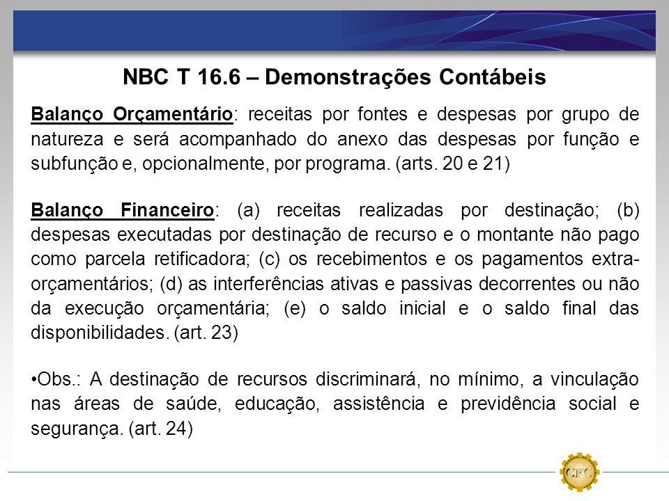 NBC T 16.6 – Demonstrações Contábeis Balanço Orçamentário: receitas por fontes e despesas por grupo de natureza e será acompanhado do anexo das despes