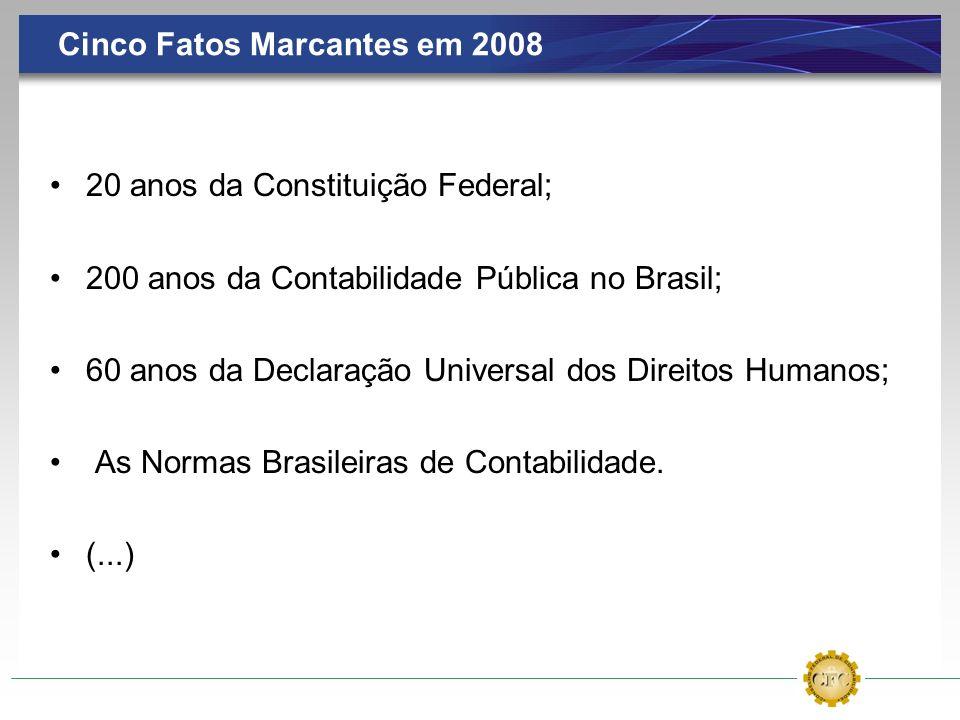Cinco Fatos Marcantes em 2008 20 anos da Constituição Federal; 200 anos da Contabilidade Pública no Brasil; 60 anos da Declaração Universal dos Direit