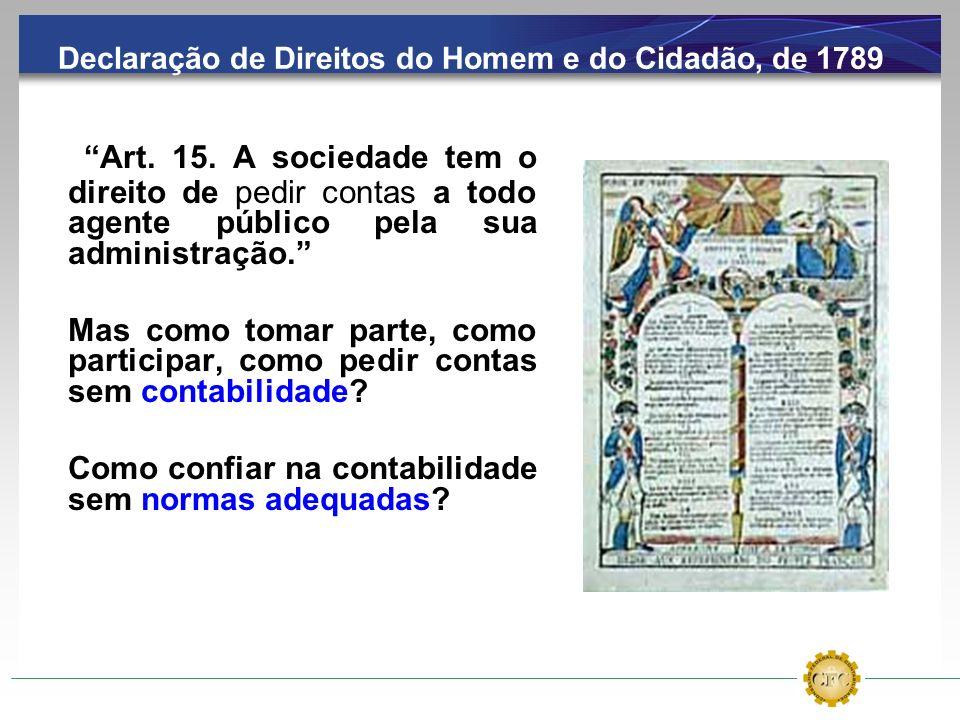 Declaração de Direitos do Homem e do Cidadão, de 1789 Art. 15. A sociedade tem o direito de pedir contas a todo agente público pela sua administração.