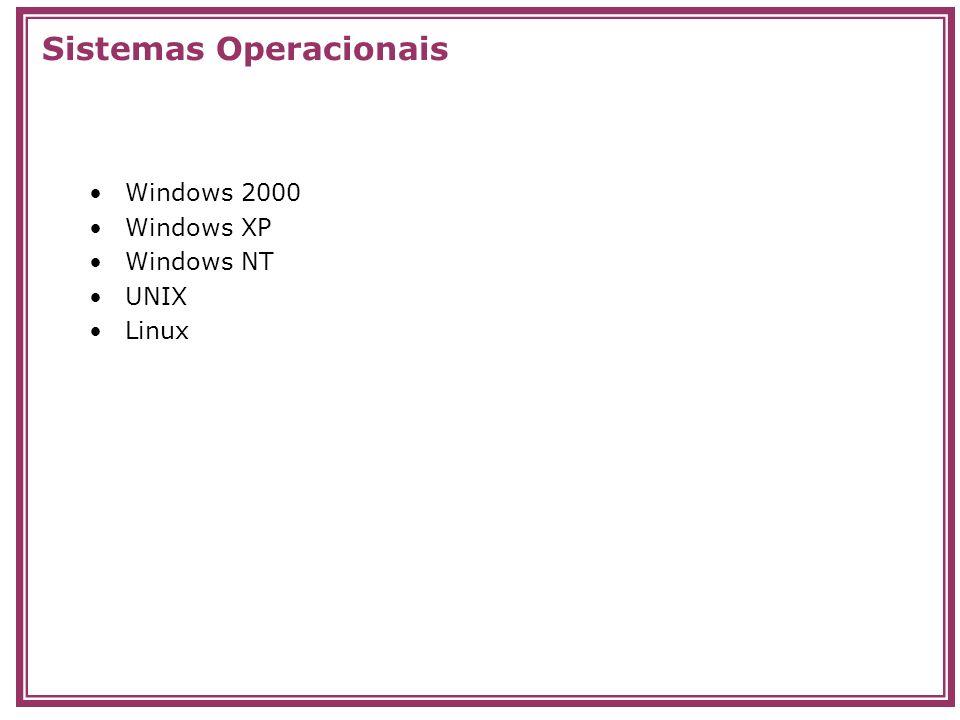 Windows 2000 Windows XP Windows NT UNIX Linux Sistemas Operacionais
