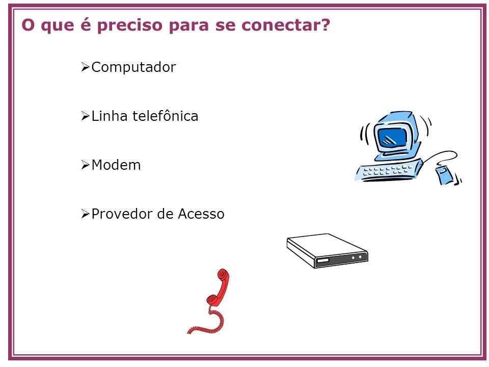 Computador Linha telefônica Modem Provedor de Acesso O que é preciso para se conectar?