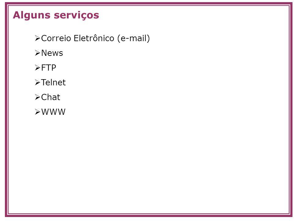 Correio Eletrônico (e-mail) News FTP Telnet Chat WWW Alguns serviços