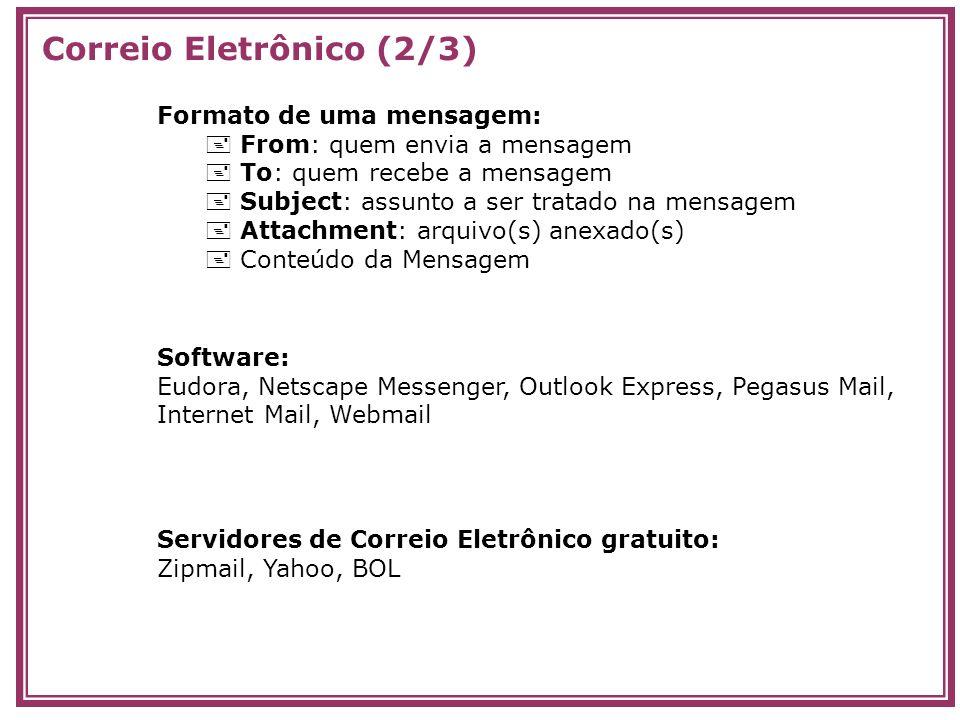 Formato de uma mensagem: From: quem envia a mensagem To: quem recebe a mensagem Subject: assunto a ser tratado na mensagem Attachment: arquivo(s) anex