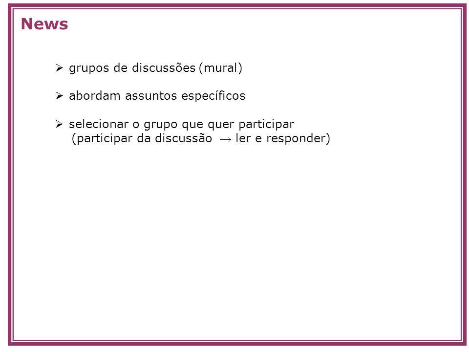 grupos de discussões (mural) abordam assuntos específicos selecionar o grupo que quer participar (participar da discussão ler e responder) News