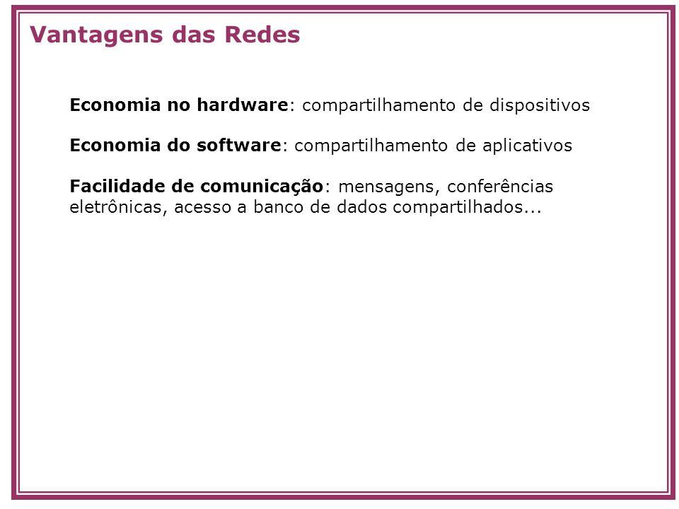 Economia no hardware: compartilhamento de dispositivos Economia do software: compartilhamento de aplicativos Facilidade de comunicação: mensagens, con