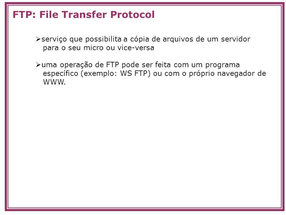 serviço que possibilita a cópia de arquivos de um servidor para o seu micro ou vice-versa uma operação de FTP pode ser feita com um programa específic