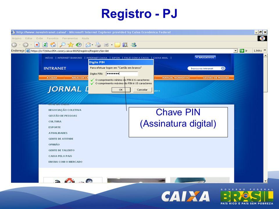 Chave PIN (Assinatura digital) Registro - PJ