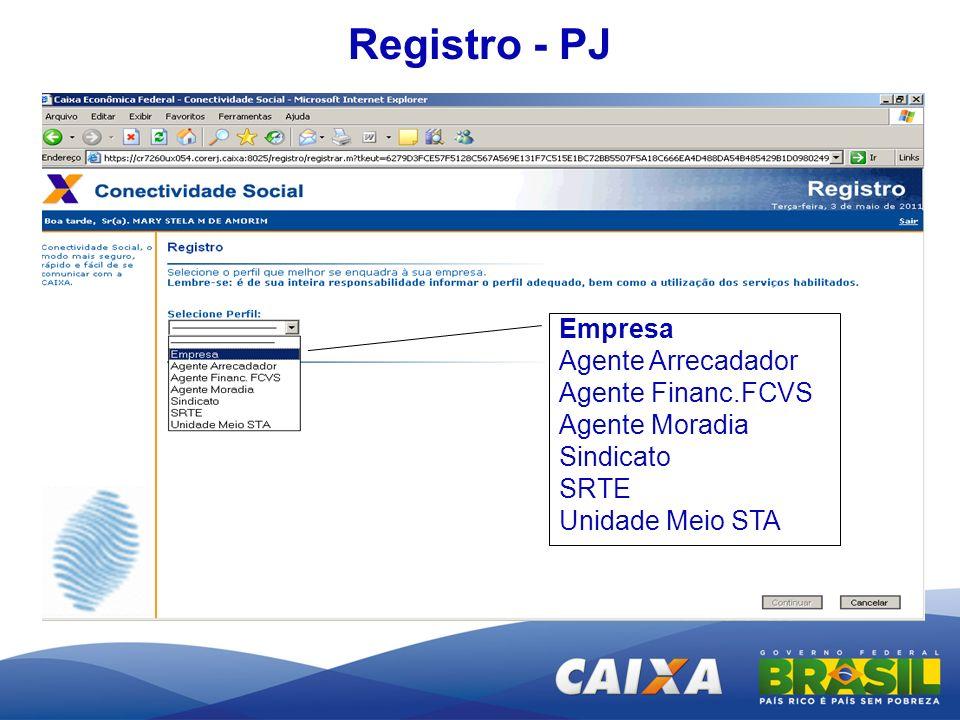 Registro - PJ Empresa Agente Arrecadador Agente Financ.FCVS Agente Moradia Sindicato SRTE Unidade Meio STA