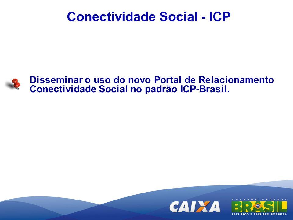 Conectividade Social - ICP Disseminar o uso do novo Portal de Relacionamento Conectividade Social no padrão ICP-Brasil.