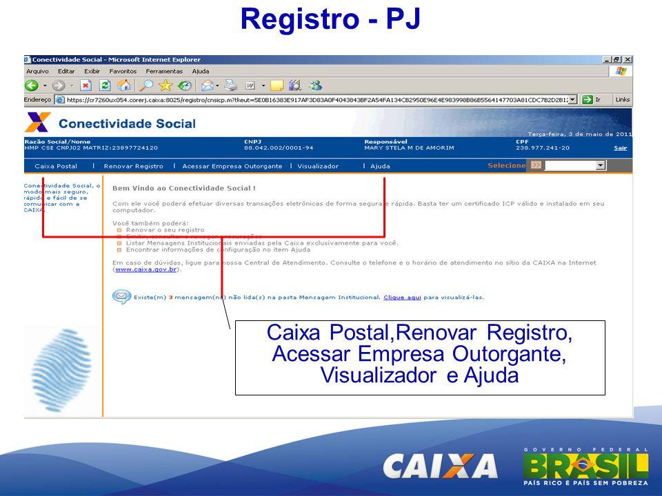 Caixa Postal,Renovar Registro, Acessar Empresa Outorgante, Visualizador e Ajuda Registro - PJ