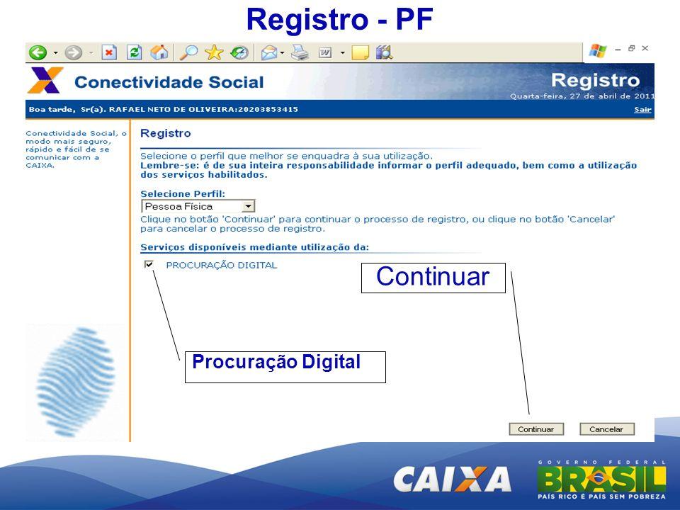 Registro - PF Procuração Digital Continuar