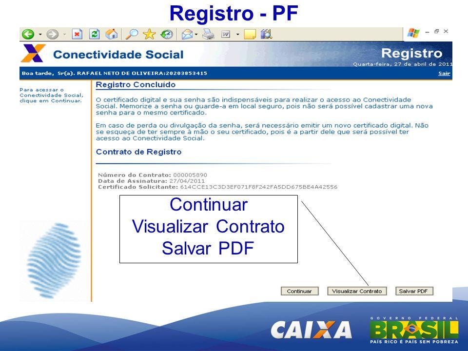 Registro - PF Continuar Visualizar Contrato Salvar PDF
