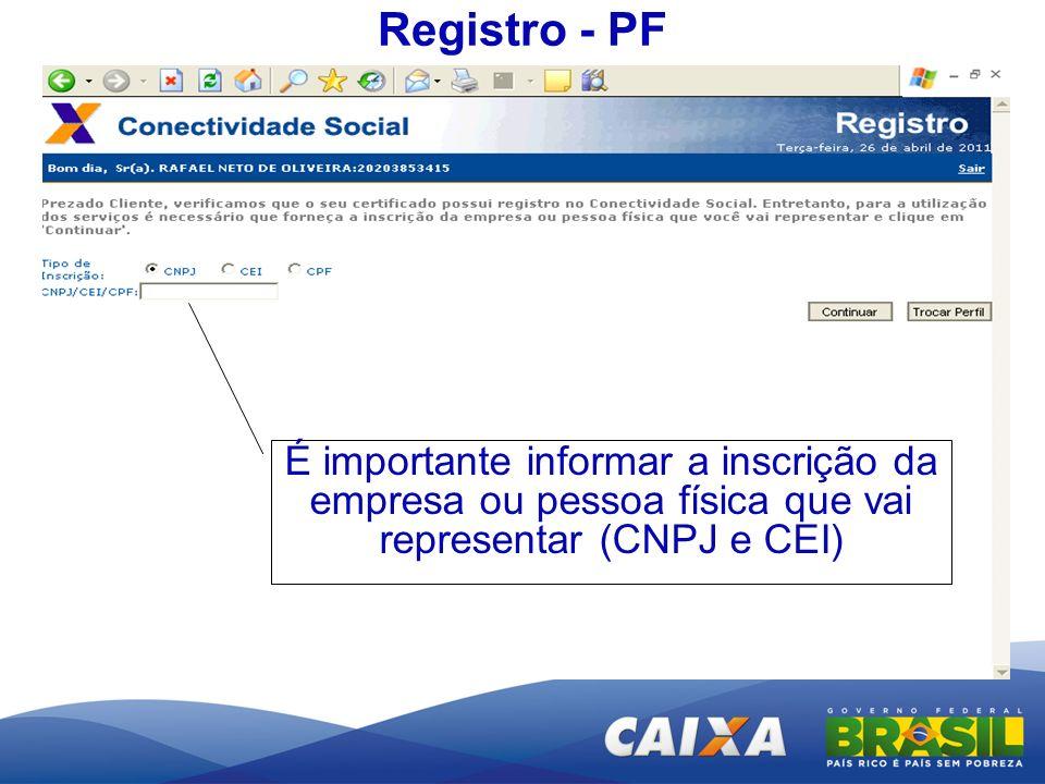 Registro - PF É importante informar a inscrição da empresa ou pessoa física que vai representar (CNPJ e CEI)