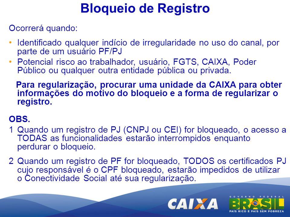 Bloqueio de Registro Ocorrerá quando: Identificado qualquer indício de irregularidade no uso do canal, por parte de um usuário PF/PJ Potencial risco a