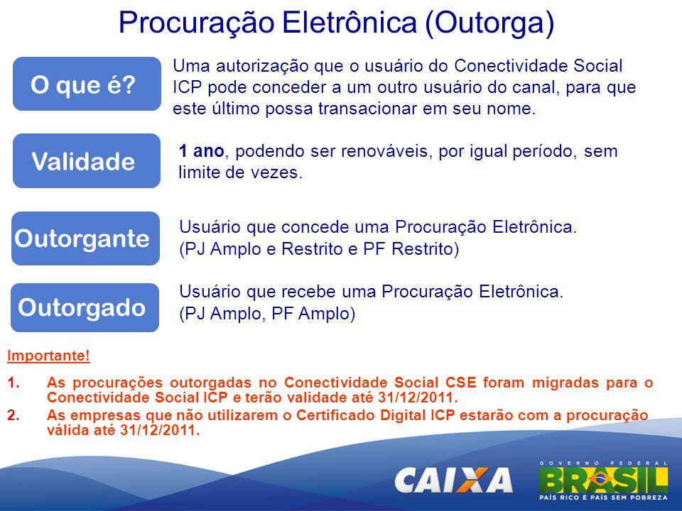 Procuração Eletrônica (Outorga) O que é? Uma autorização que o usuário do Conectividade Social ICP pode conceder a um outro usuário do canal, para que