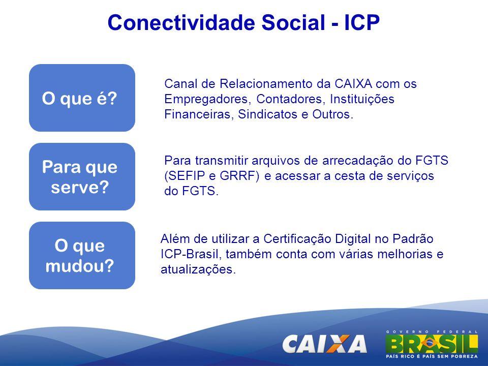 Conectividade Social - ICP Além de utilizar a Certificação Digital no Padrão ICP-Brasil, também conta com várias melhorias e atualizações. O que é? Ca