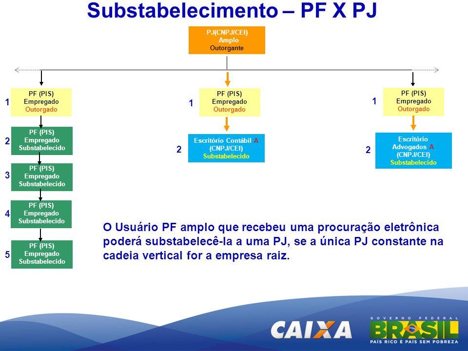 PJ(CNPJ/CEI) Amplo Outorgante Substabelecimento – PF X PJ O Usuário PF amplo que recebeu uma procuração eletrônica poderá substabelecê-la a uma PJ, se