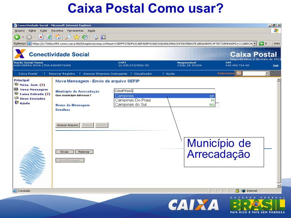 Caixa Postal Como usar? Município de Arrecadação