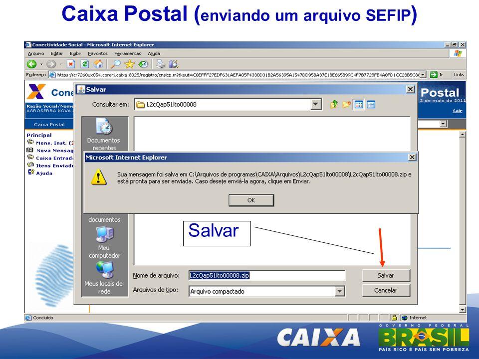 Salvar Caixa Postal ( enviando um arquivo SEFIP )