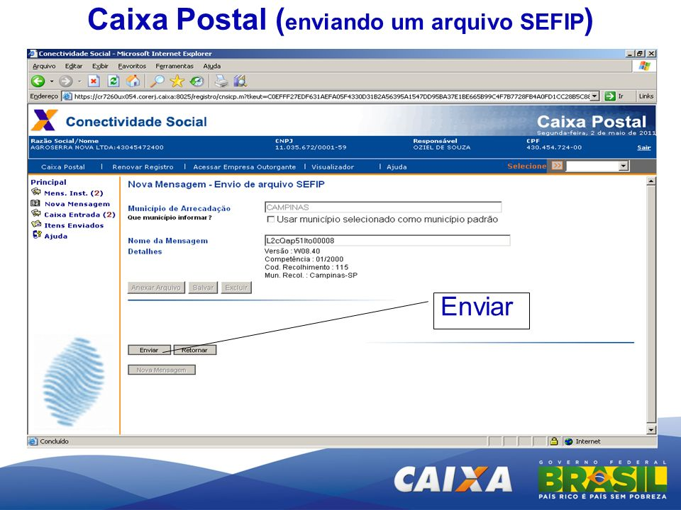 Enviar Caixa Postal ( enviando um arquivo SEFIP )