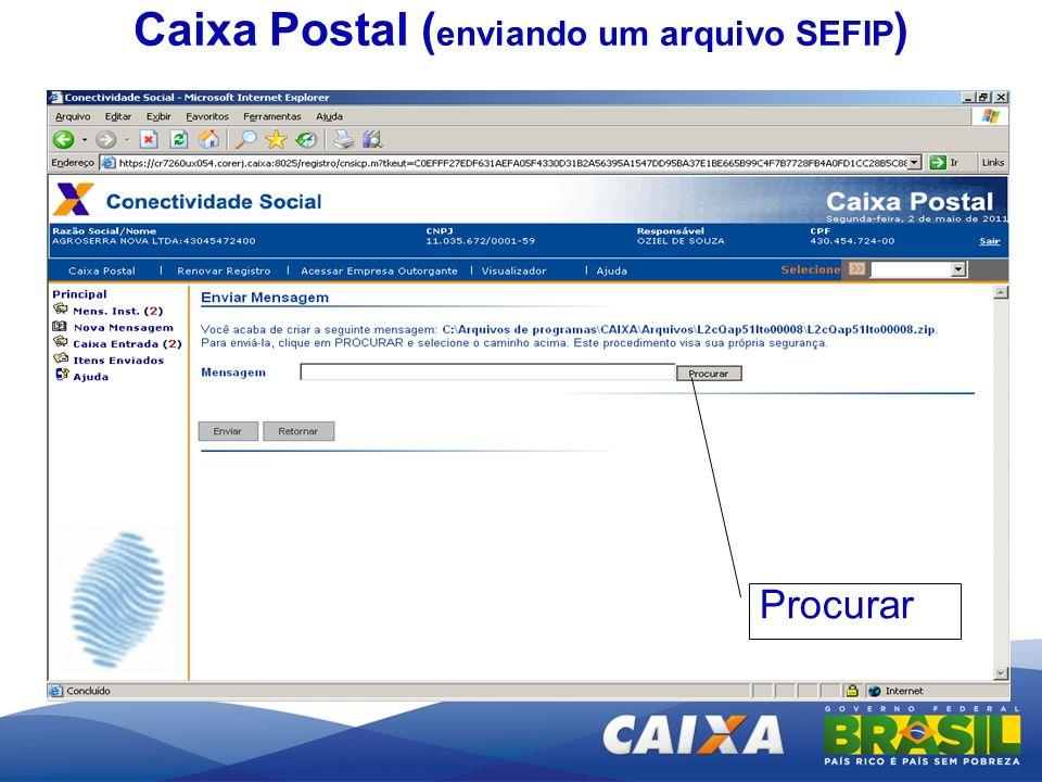 Enviar Procurar Caixa Postal ( enviando um arquivo SEFIP )