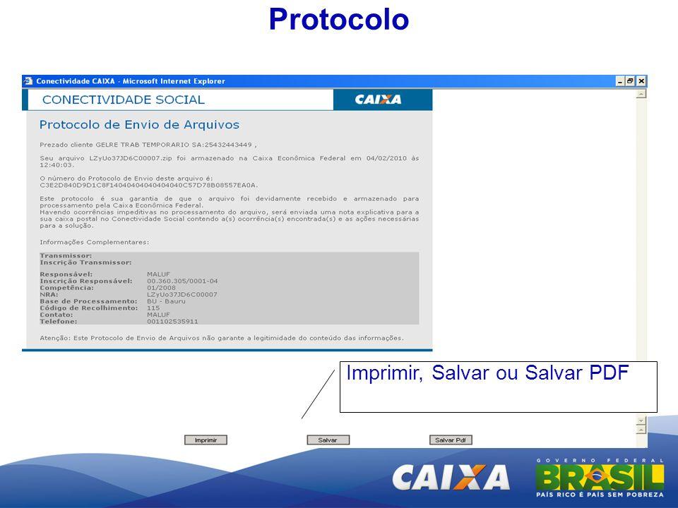 Protocolo Imprimir, Salvar ou Salvar PDF