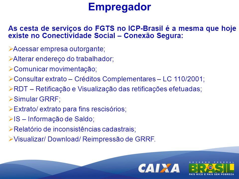 Empregador As cesta de serviços do FGTS no ICP-Brasil é a mesma que hoje existe no Conectividade Social – Conexão Segura: Acessar empresa outorgante;