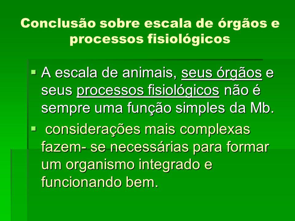 Conclusão sobre escala de órgãos e processos fisiológicos A escala de animais, seus órgãos e seus processos fisiológicos não é sempre uma função simpl
