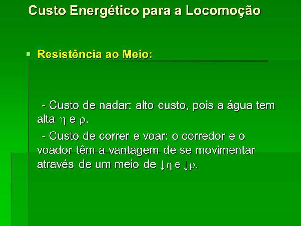 Custo Energético para a Locomoção Resistência ao Meio: Resistência ao Meio: - Custo de nadar: alto custo, pois a água tem alta e. - Custo de nadar: al