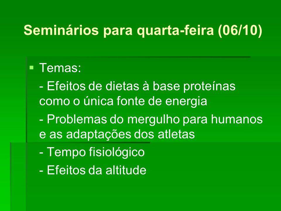 Seminários para quarta-feira (06/10) Temas: - Efeitos de dietas à base proteínas como o única fonte de energia - Problemas do mergulho para humanos e