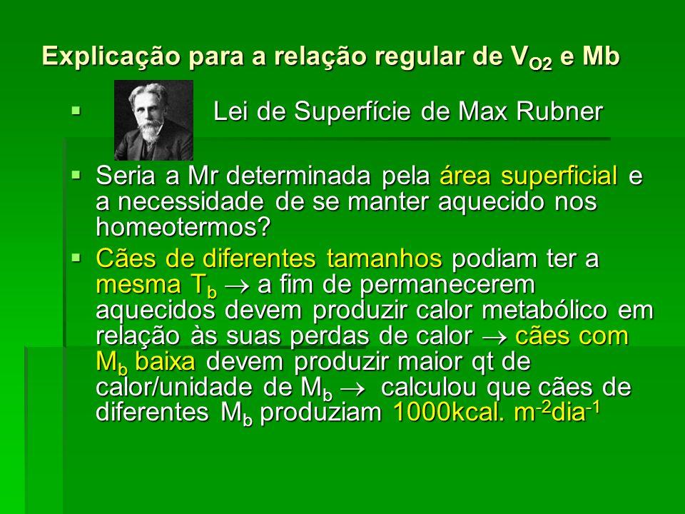 O que não apóia a Lei de Superfície de Max Rubner As inclinações das retas de regressão da Fig 5.1 não podem ser explicadas pela necessidade de compensar a perda de calor, pois a regulação da T b não é um problema para pecilotermos = mesma relação M r x M b que os mamíferos.