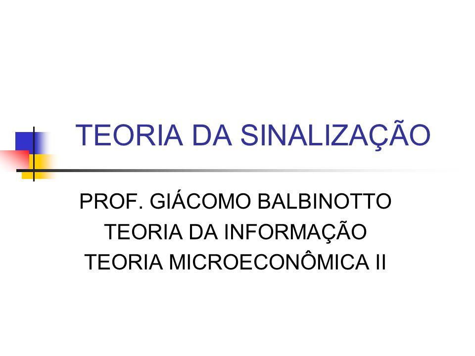 TEORIA DA SINALIZAÇÃO PROF. GIÁCOMO BALBINOTTO TEORIA DA INFORMAÇÃO TEORIA MICROECONÔMICA II