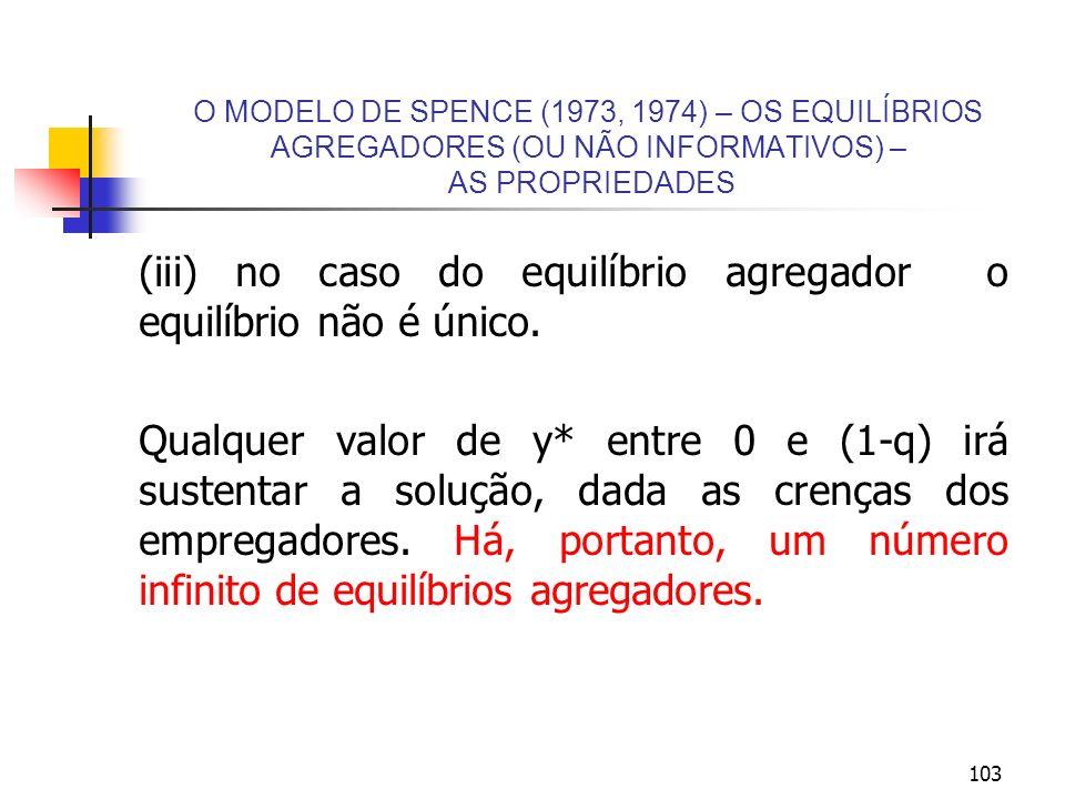 103 O MODELO DE SPENCE (1973, 1974) – OS EQUILÍBRIOS AGREGADORES (OU NÃO INFORMATIVOS) – AS PROPRIEDADES (iii) no caso do equilíbrio agregador o equil