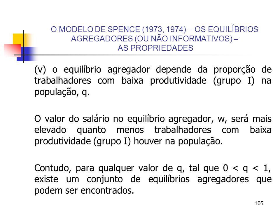 105 O MODELO DE SPENCE (1973, 1974) – OS EQUILÍBRIOS AGREGADORES (OU NÃO INFORMATIVOS) – AS PROPRIEDADES (v) o equilíbrio agregador depende da proporç