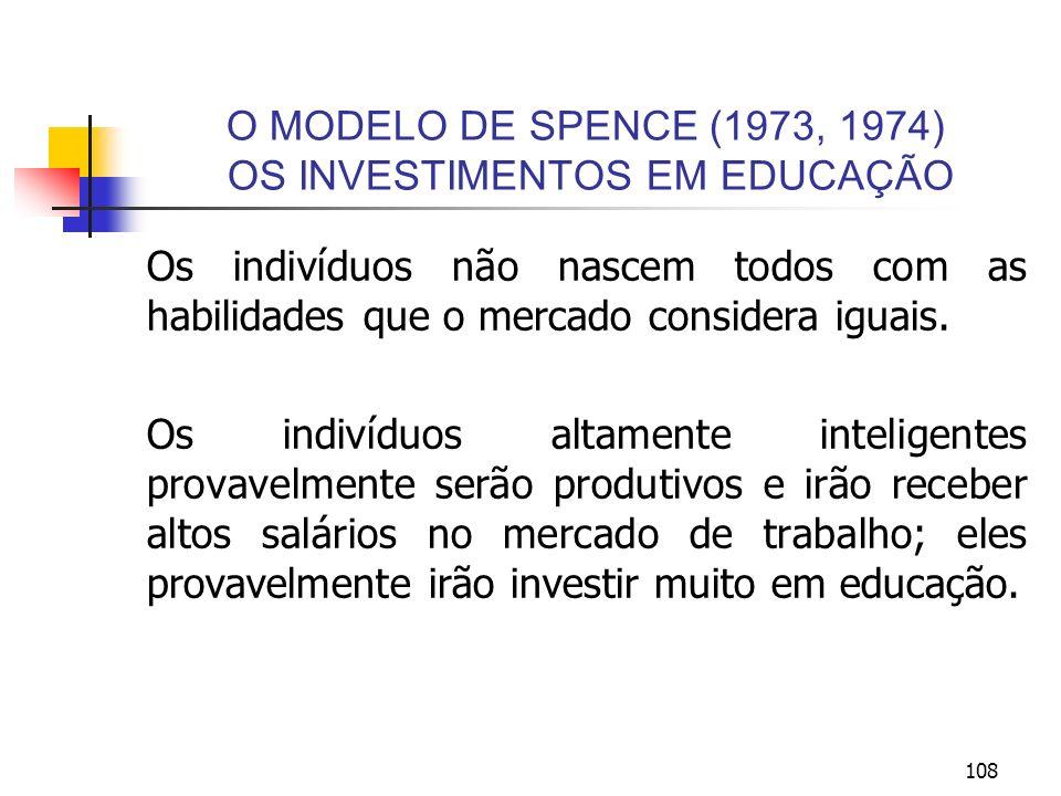 108 O MODELO DE SPENCE (1973, 1974) OS INVESTIMENTOS EM EDUCAÇÃO Os indivíduos não nascem todos com as habilidades que o mercado considera iguais. Os