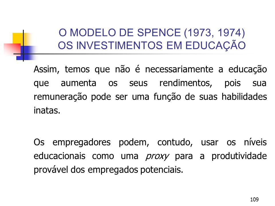 109 O MODELO DE SPENCE (1973, 1974) OS INVESTIMENTOS EM EDUCAÇÃO Assim, temos que não é necessariamente a educação que aumenta os seus rendimentos, po