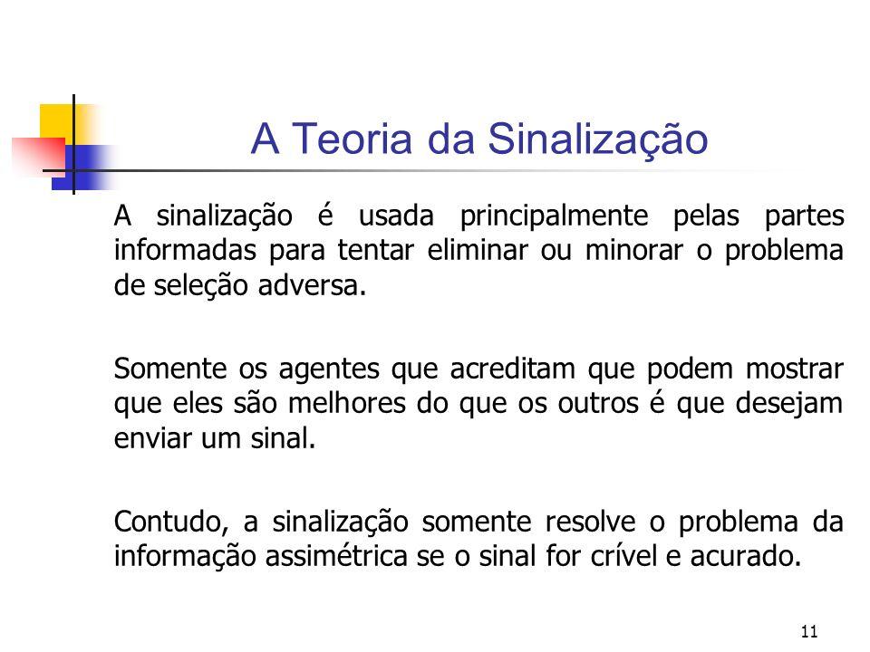 11 A Teoria da Sinalização A sinalização é usada principalmente pelas partes informadas para tentar eliminar ou minorar o problema de seleção adversa.