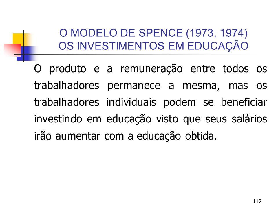 112 O MODELO DE SPENCE (1973, 1974) OS INVESTIMENTOS EM EDUCAÇÃO O produto e a remuneração entre todos os trabalhadores permanece a mesma, mas os trab