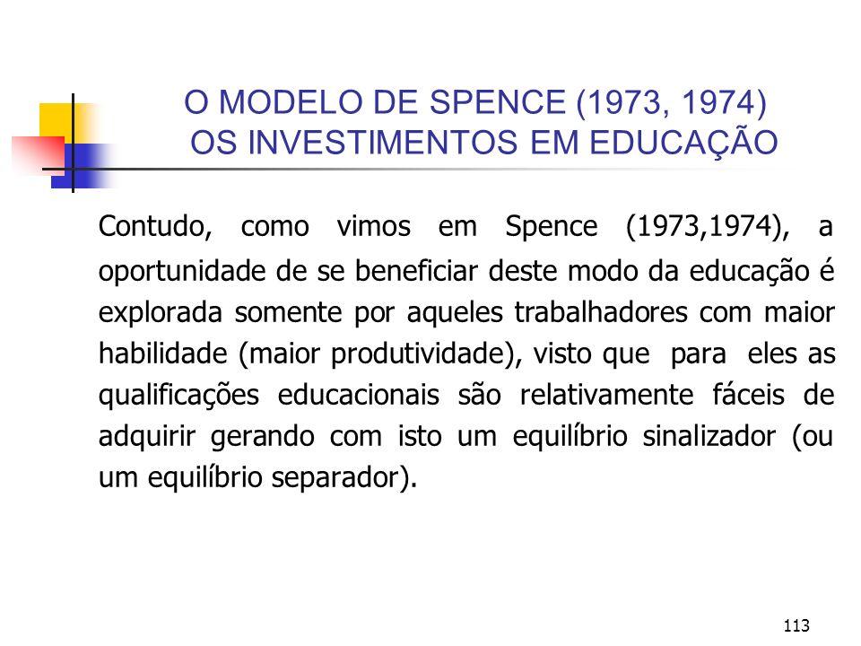 113 O MODELO DE SPENCE (1973, 1974) OS INVESTIMENTOS EM EDUCAÇÃO Contudo, como vimos em Spence (1973,1974), a oportunidade de se beneficiar deste modo