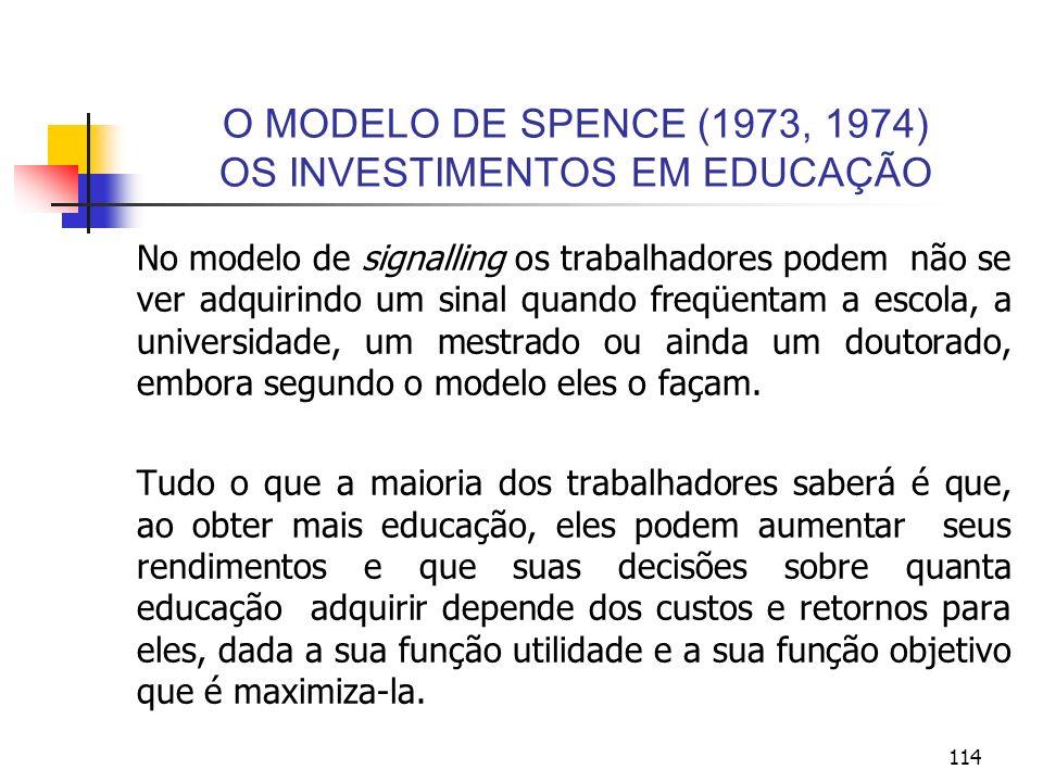 114 O MODELO DE SPENCE (1973, 1974) OS INVESTIMENTOS EM EDUCAÇÃO No modelo de signalling os trabalhadores podem não se ver adquirindo um sinal quando