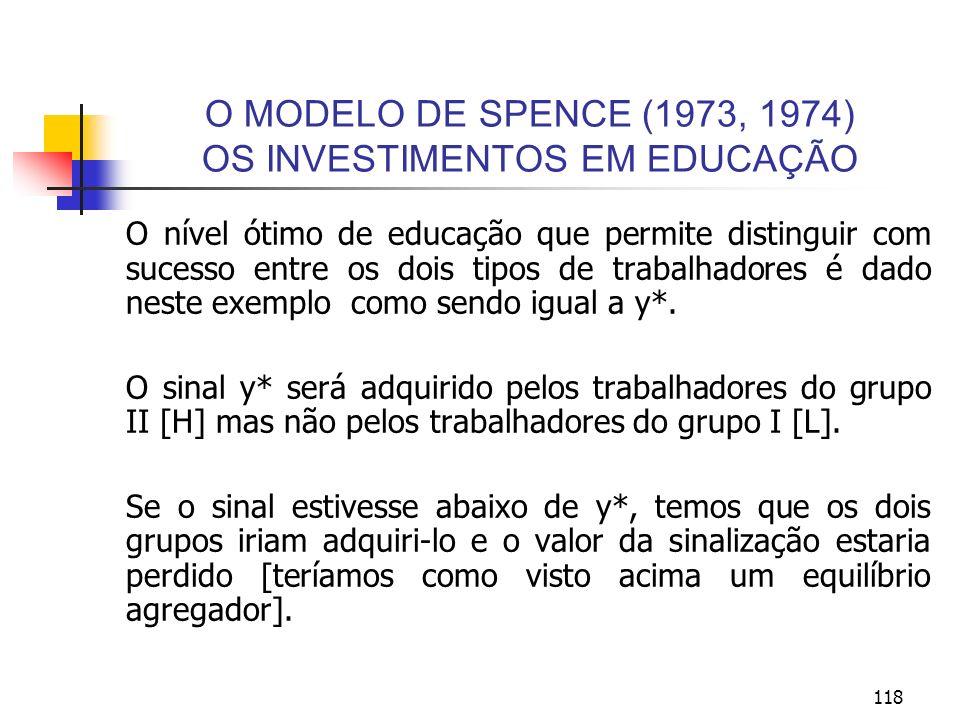 118 O MODELO DE SPENCE (1973, 1974) OS INVESTIMENTOS EM EDUCAÇÃO O nível ótimo de educação que permite distinguir com sucesso entre os dois tipos de t