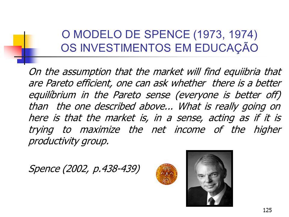 125 O MODELO DE SPENCE (1973, 1974) OS INVESTIMENTOS EM EDUCAÇÃO On the assumption that the market will find equiibria that are Pareto efficient, one