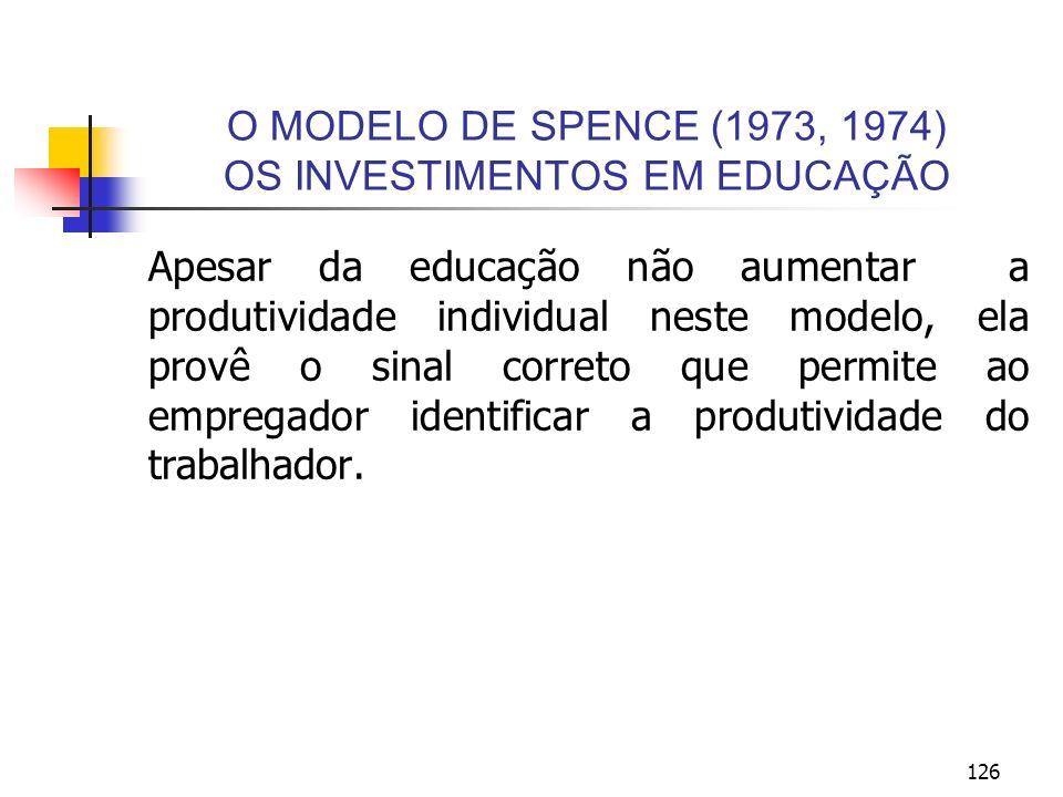 126 O MODELO DE SPENCE (1973, 1974) OS INVESTIMENTOS EM EDUCAÇÃO Apesar da educação não aumentar a produtividade individual neste modelo, ela provê o