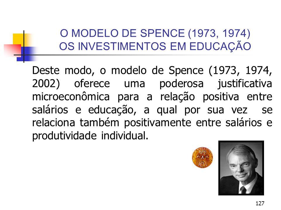 127 O MODELO DE SPENCE (1973, 1974) OS INVESTIMENTOS EM EDUCAÇÃO Deste modo, o modelo de Spence (1973, 1974, 2002) oferece uma poderosa justificativa