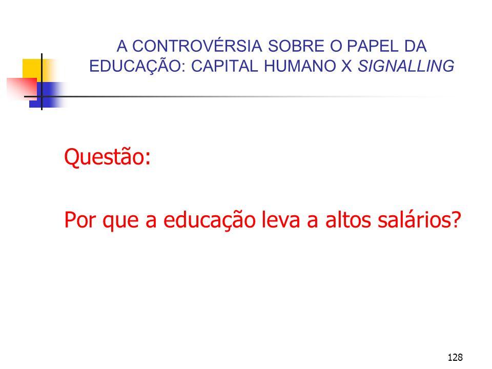 128 A CONTROVÉRSIA SOBRE O PAPEL DA EDUCAÇÃO: CAPITAL HUMANO X SIGNALLING Questão: Por que a educação leva a altos salários?