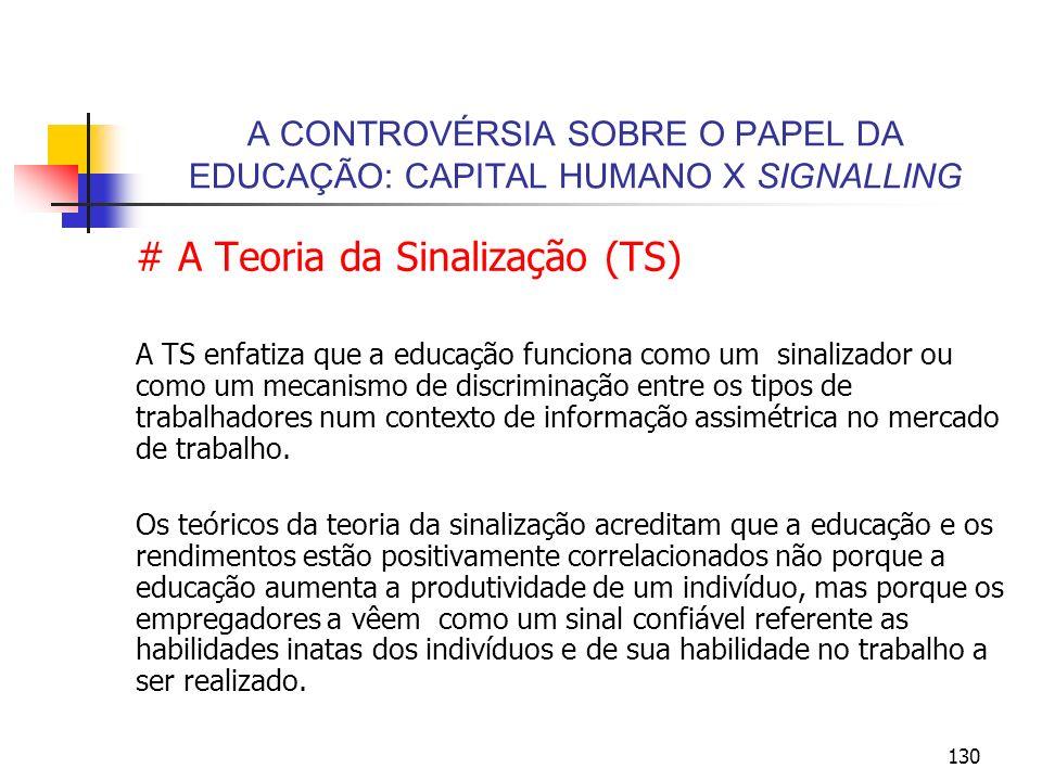 130 A CONTROVÉRSIA SOBRE O PAPEL DA EDUCAÇÃO: CAPITAL HUMANO X SIGNALLING # A Teoria da Sinalização (TS) A TS enfatiza que a educação funciona como um