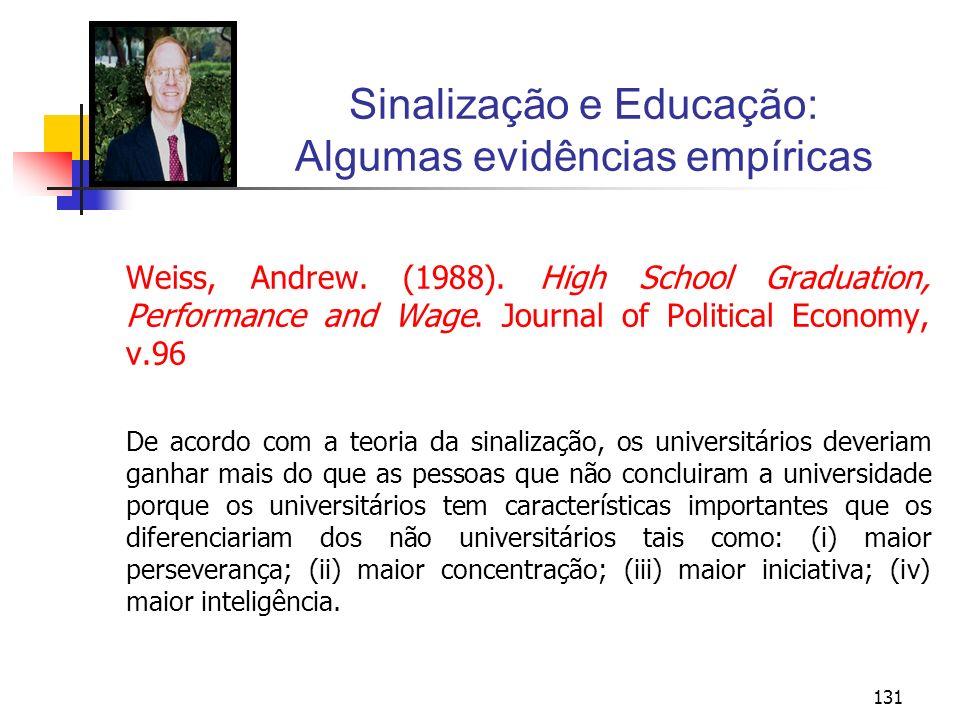 131 Sinalização e Educação: Algumas evidências empíricas Weiss, Andrew. (1988). High School Graduation, Performance and Wage. Journal of Political Eco